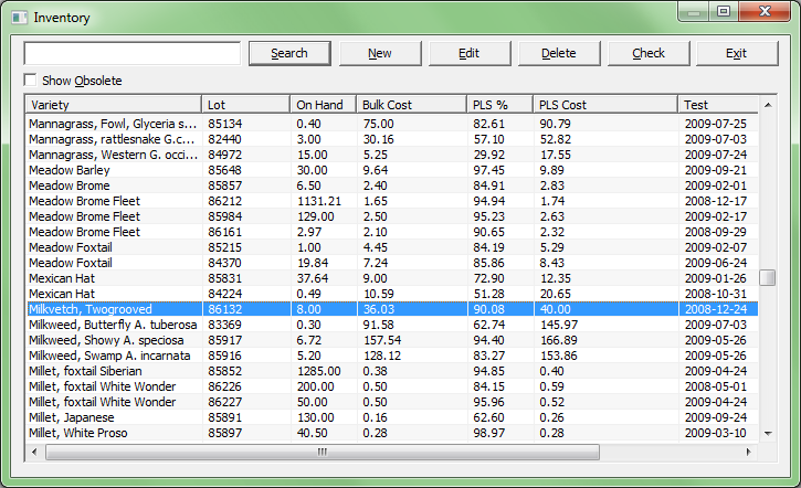 Seed Inventory Software Screen Shot