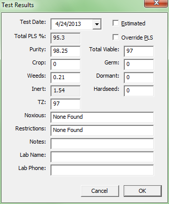 Seed Inventory Software - View Test Results